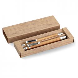 Bambusowy zestaw piśmienniczy w papierowym kartoniku - MO8111-40