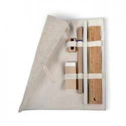 Zestaw biurkowy w etui wykonanym z juty i bawełny - MO7755
