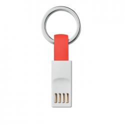 Brelok z kablem transferowo-ładującym TPE z końcówkami micro USB/USB - MO9170