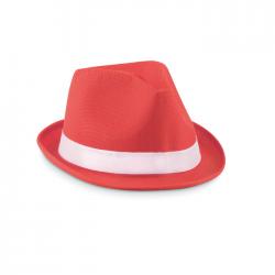 Kolorowy kapelusz z poliestrowej słomki z białą taśmą - MO9342