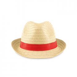 Naturalny kapelusz słomkowy z kolorową taśmą - MO9341