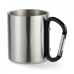 Metalowy kubek z uchwytem w postaci karabink - MO8313