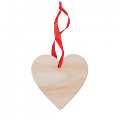 Drewniana zawieszka serce ze wstążką - MO9376