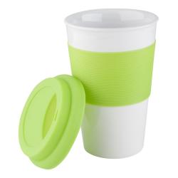 Kubek ceramiczny z silikonową pokrywką i uchwytem - AP803420