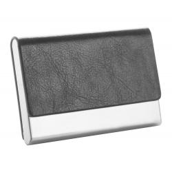 Wizytownik ze szlifowanego metalu i sztucznej skóry - AP810383