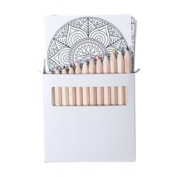 Zestaw do kolorowania z 12 kredkami i 12 kartkami ze wzorami mandala - AP781757