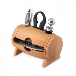 Drewniany stojak z 4 akcesoriami do wina - MO9523