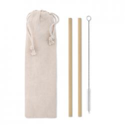 Zestaw 2 bambusowych słomek wielokrotnego użytku - MO9630