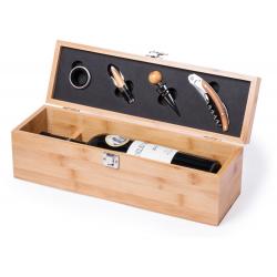 Bambusowy zestaw do wina z otwieraczem, pierścieniem zapobiegającym kapaniu, i korkiem - AP721165