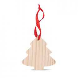 Drewniana zawieszka w kształcie choinki z czerwonym uchwytem - cx1374-40