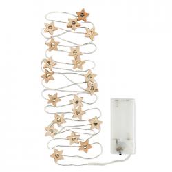 Łańcuch świetlny 20 LED, lampki w kształcie drewnianych gwiazdek - CX1462-40