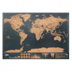 Mapa świata w formie zdrapki z chromowanego papieru - MO9736