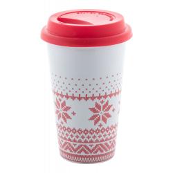 Ceramiczny kubek z motywem świątecznym i silikonową pokrywką. 400 ml - AP721390