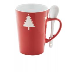 Czerwony, ceramiczny kubek z łyżeczką i świątecznym motywem, poj. 350 ml - AP803407