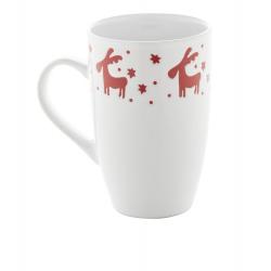 Biały, ceramiczny kubek z świątecznym motywem, poj. 400 ml - AP803408
