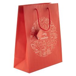 Torebka prezentowa z matowego papieru laminowanego, ze świątecznym wzorem - AP808757