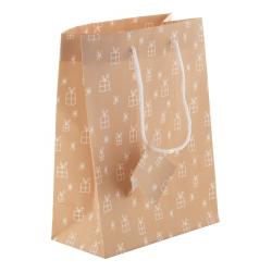 Torebka prezentowa z matowego papieru laminowanego, ze świątecznym wzorem  - AP808755