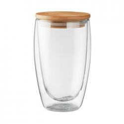 Szklanka z dwuwarstwowego szkła borokrzemianowego z pokrywką bambusową - MO9721