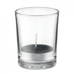 Zapachowa świeczka w przezroczystym szklanym świeczniku, z kolorowym tealight - MO9734