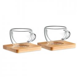 Zestaw 2 szklanek do espresso z podwójną ścianką i bambusowym spodkiem - MO9709