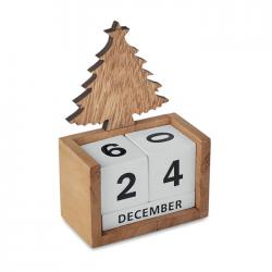 Drewniany manualny kalendarz biurkowy z motywem choinki - CX1467