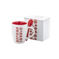 Biały, ceramiczny kubek z motywem płatka śniegu i łyżeczką, poj. 300 ml - AP862005