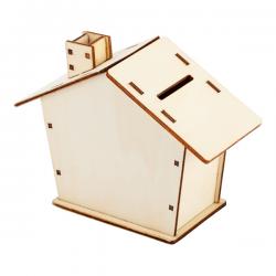 Drewniana skarbonka w kształcie domku - R91023
