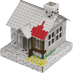 Kartonowy domek do kolorowania z otwieranymi drzwiami - 5118806
