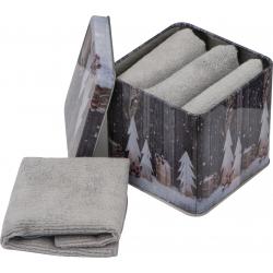 Zestaw 4 ręczników z mikrofibry umieszczonych w metalowym pudełku z motywem świątecznym - 7118907