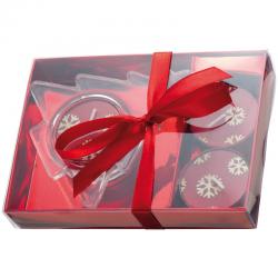 Świąteczny zestaw 3 zapachowych świeczek ze świecznikiem w kształcie choinki - 8307805