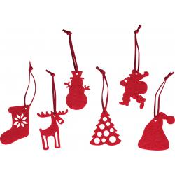 Komplet 6 różnych świątecznych zawieszek wykonanych z filcu - 9033105