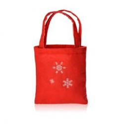 Czerwona filcowa torebka na prezent z motywem płatków śniegu - 08057