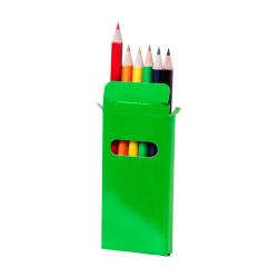 Drewniane, kolorowe kredki (6 szt) w kolorowym papierowym pudełku - AP731349