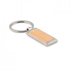 Drewniany brelok w kształcie prostokąta z elementami ze stopu cynku - MO9849