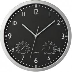 Klasyczny, plastikowy zegar ścienny z termometrem i higrometrem - 4345003