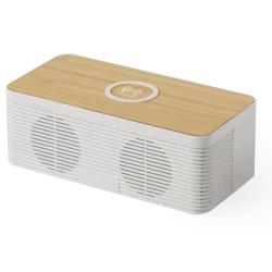 Głośnik bluetooth z szybką ładowarką indukcyjną w ekologicznej obudowie ze słomy pszenicznej i bambusa - AP721519