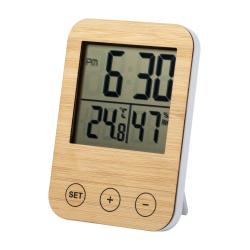 Bambusowy zegarek biurkowy ze stacją pogodową - AP721507