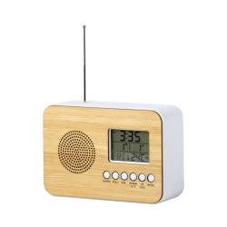 Bambusowy zegarek biurkowy z radiem FM, termometrem, kalendarzem i budzikiem - AP721508