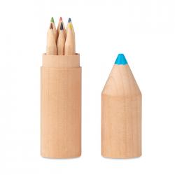 6 drewnianych kredek w drewnianym pudełku w kształcie ołówka. - MO9875