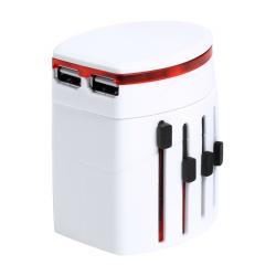 Plastikowy adapter podróżny z 2 portami USB do ładowania - AP721575