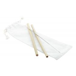 Zestaw 2 bambusowych słomek wielokrotnego użytku i szczoteczki do ich czyszczenia - AP809573
