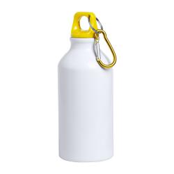 Biała, aluminiowa butelka sportowa z kolorową pokrywką i karabińczykiem - AP721530