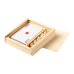 Zestaw do gier w drewnianym pudełku z kartami i 5 kostkami - AP721448