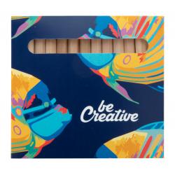 Kolorowe kredki z drewna (12 szt) w full kolorowym pudełku z własną grafiką - AP718337