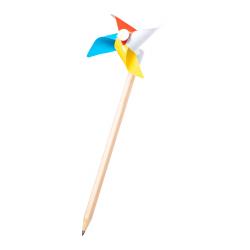 Drewniany, grafitowy ołówek z kolorowym wiatraczkiem - AP721450