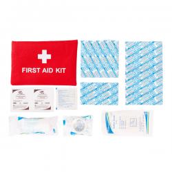 Apteczka podręczna zawierająca artykuły niezbędne do udzielenia pierwszej pomocy w czasie podróży - R17736
