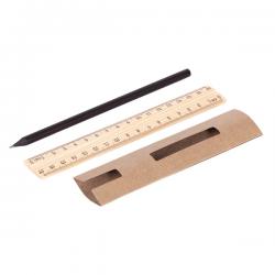 Drewniany zestaw składający się z ołówka HB oraz linijki 17cm w papierowym etui - R73761
