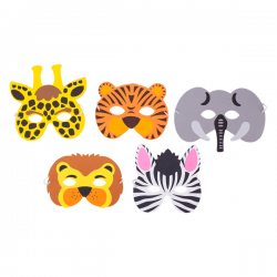 Zestaw 5 masek przedstawiających różne zwierzęta - R74042