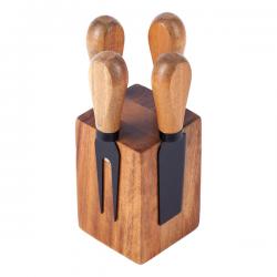 Zestaw do sera wykonany z wysokiej jakości stali nierdzewnej i drewna akacjowego - R17137