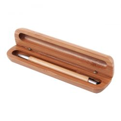 Wykonany z litego bambusa i metalu długopis w bambusowym etu - R01070